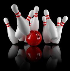 Boule de bowling et quilles sur fond noir 1