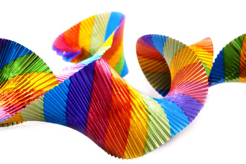 Colorful party streamer isolated on white