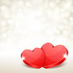 Valentine's day vector background two hearts with light