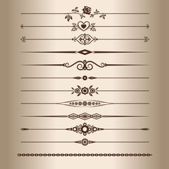Elements for a vintage design - decorative line dividers