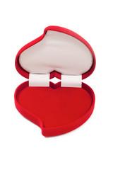 Open an empty red heart-shaped fancy box