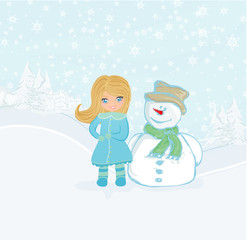 Little girl and snowman card