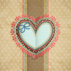 Wall Mural - Valentine`s Day vintage lacy card with heart