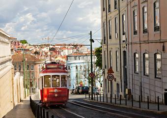 historic classic red tram of Lisbon