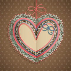 Wall Mural - Valentine`s Day vintage card with heart