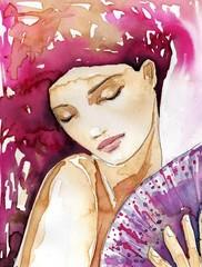 Poster Painterly Inspiration piękna dziewczyna z wachlarzem