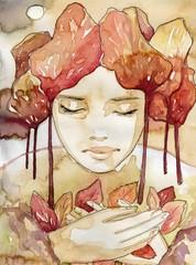 Garden Poster Painterly Inspiration abstrakcyjny portret pieknej kobiety