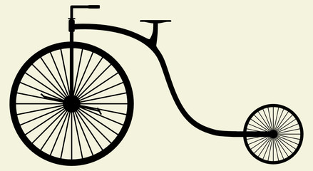 Old Bicycle Silhouette Vector 04