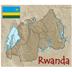 rwanda africa map flag emblem