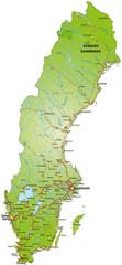 Landkarte von Schweden mit Autobahnen