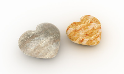two stones in shape of hearts
