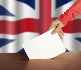 Hand with ballot and box on Flag of England