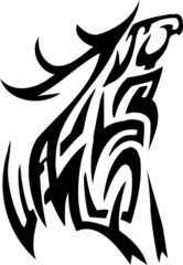 Deer design - vector illustration in tribal style