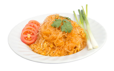 Isolate thai fried noodle in white dish.