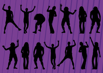 Dancing crowd of people silhouettes illustration