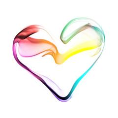 Coeur multicolore, effet fumée