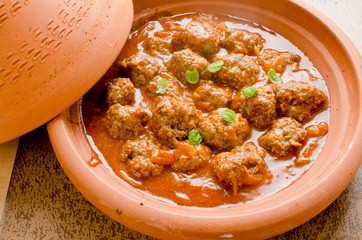 Moroccan kefta in tomato sauce tajine