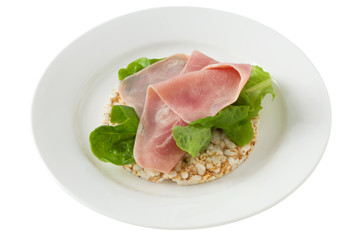 rice toasts with ham