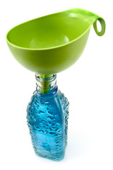 Bottle of water and funnel