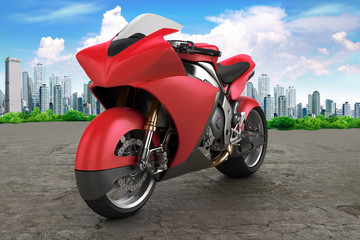 Keuken foto achterwand Motorfiets Motorbike prototype red