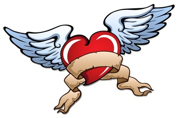 Stylized heart with wings 2