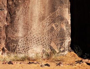 Wall Murals Algeria Rock engraving in Sahara Desert, Algeria