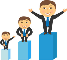 three successfully businessman standing and advertising