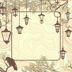 Vintage background with tree branches and retro street lamps