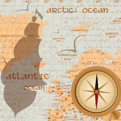 Vintage travel background with antique compass