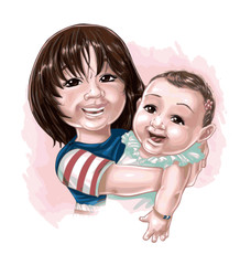 Caricature de soeurs