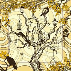 Vintage autumn background with handwritten magic tree
