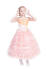 Beautiful Girl In Pink Evening Dress Isolated On White