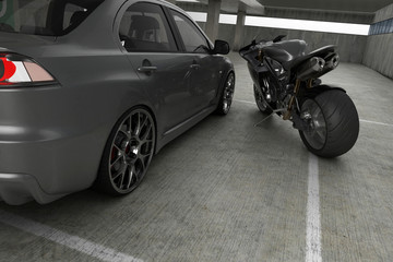 Auto and moto concept in a garage