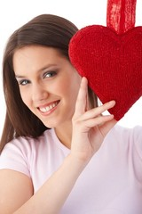 Young woman at valentine's day smiling
