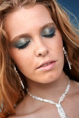 Closeup photo of redhead beauty