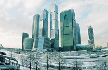 Winter cityscape with group of buildings
