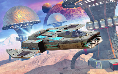Wall Mural - space fighter and desert city