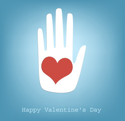 hand giving heart, vector, happy Valentine's Day