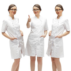 Young medical doctor woman presenting and showing copy space for