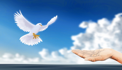 release or welcome dove, as peaceful sign