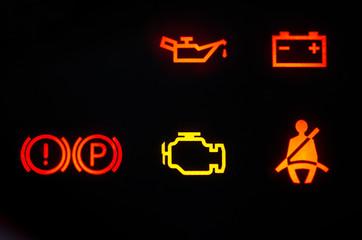 beleuchtete Warnsymbole, Auto
