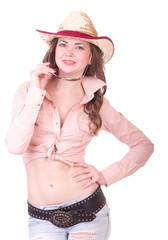 Pretty girl with cowboy hat