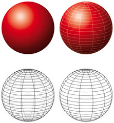 Red spheres with meridians. Three-dimensional red spheres with grid-lines and outline version. Illustration on white background. Vector.