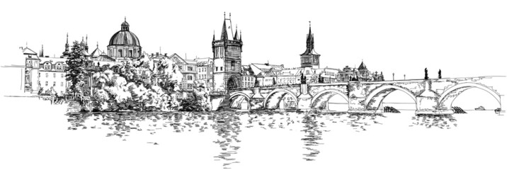 Panorama of Prague. View of Charles Bridge and the Vltava river