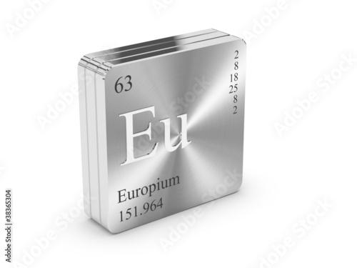 Europium Element Of The Periodic Table On Metal Steel Block Stock