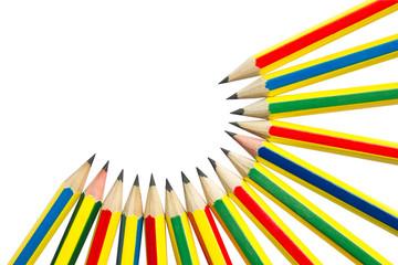 Pencils on white.