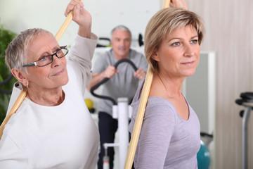 mature women in fitness center