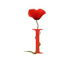 Alphabet coquelicot - I - Rouge
