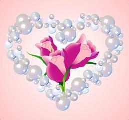Fototapeta serce i tulipany obraz