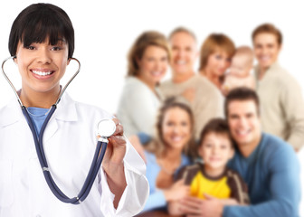 Family doctor and patients.
